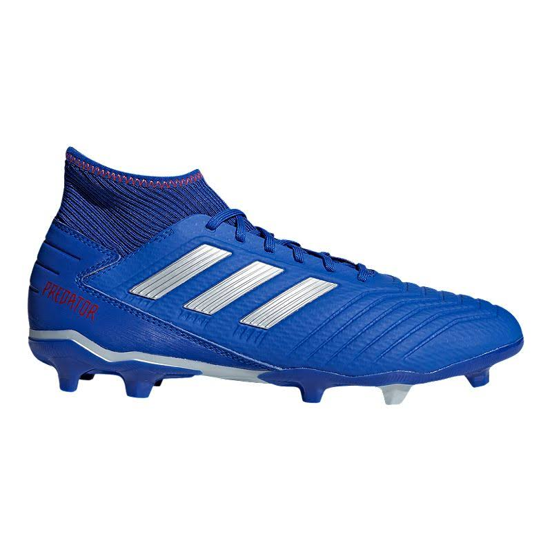 adidas Men's Predator 19.3 FG Soccer Cleats - Blue/Silver/Red, Size 7.5