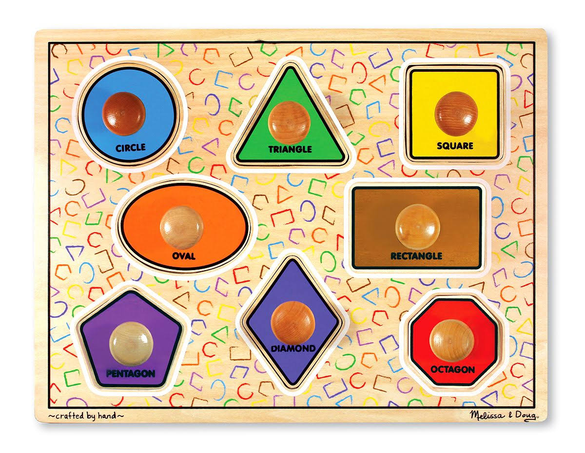 Melissa and Doug Large Shapes Jumbo Knob Wooden Puzzle - 8 Piece