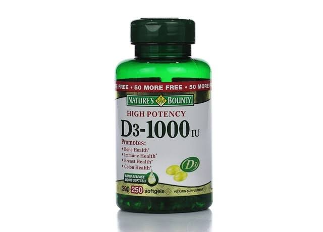 Nature's Bounty Vitamin D3 1000 IU - 250 Softgels
