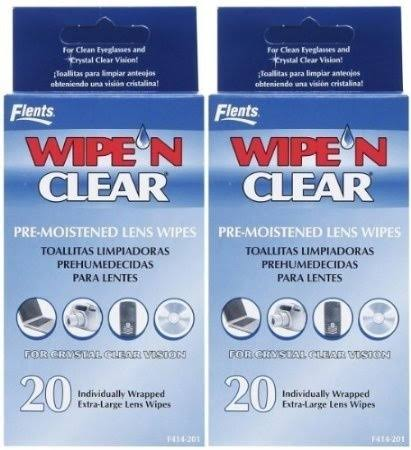 Flents Wipe N Clear Pre-Moistened Lens Wipes - x20