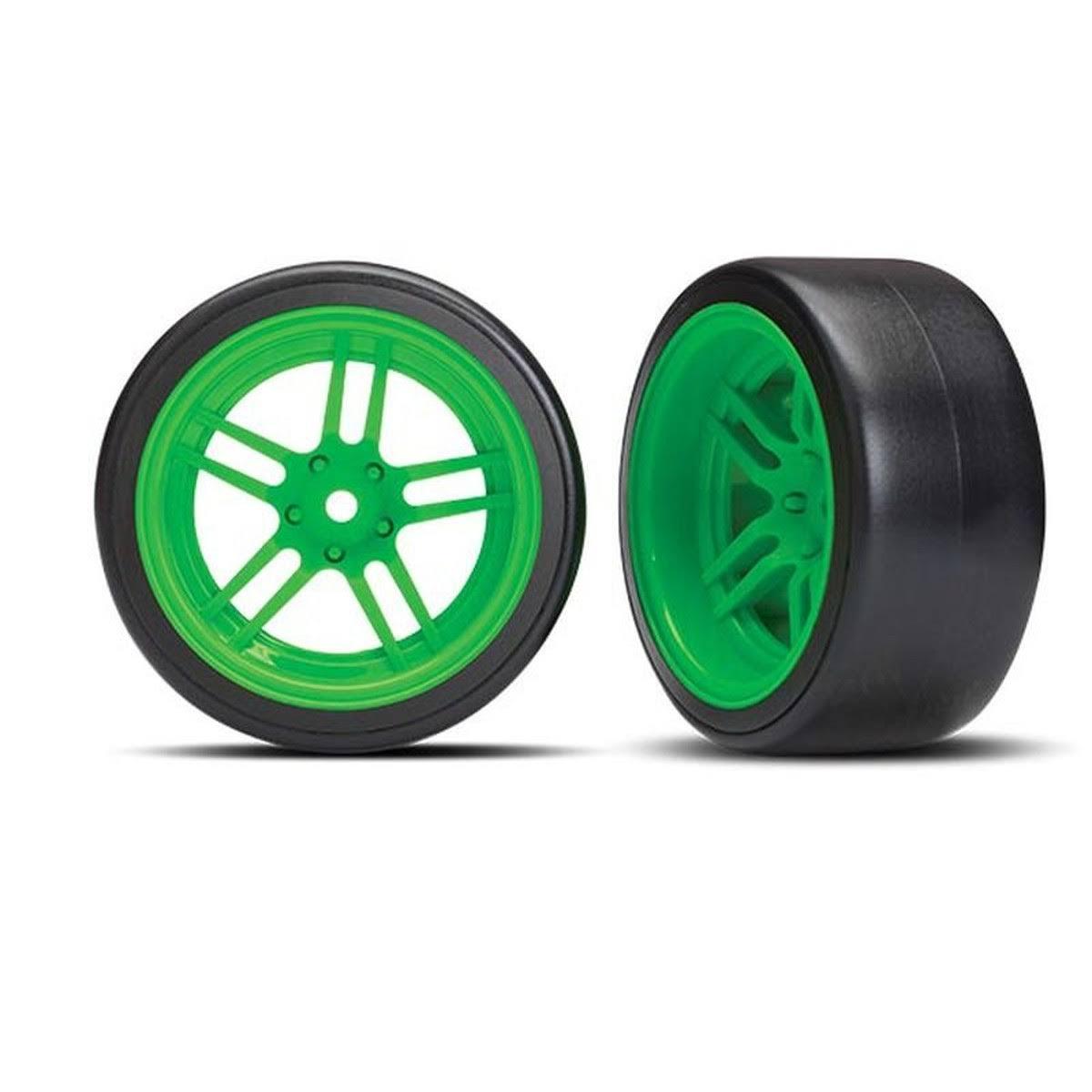 Traxxas 4-TEC 2.0 Rear Drift Tires on Split-Spoke Green Wheels (2)