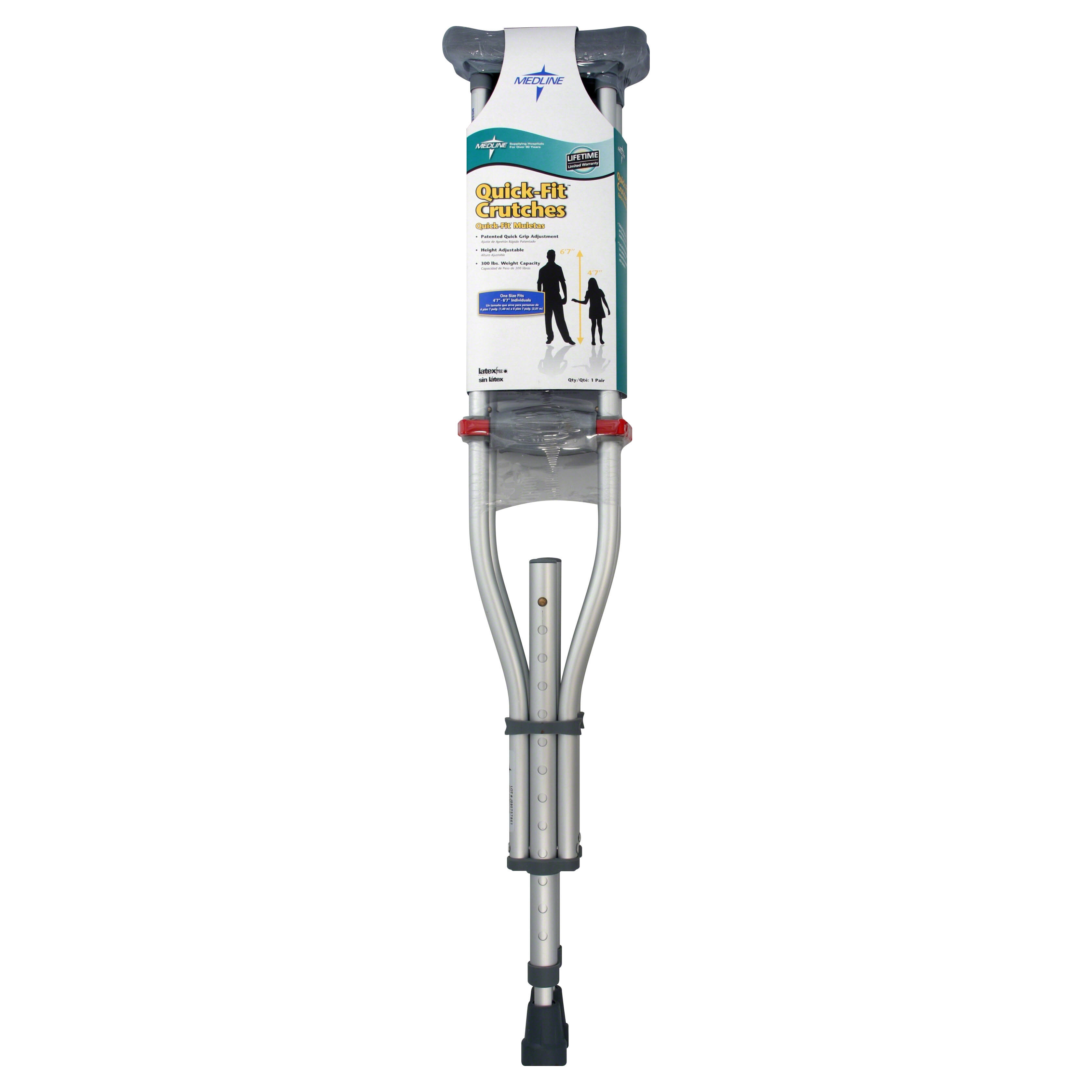 "Medline Quick Fit Aluminum Adjustable Crutches - Silver, 4' 7"" to 6'7"""
