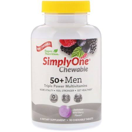 Super Nutrition Simplyone 50 Men Triple Power Multivitamin Dietary Supplement - Wild Berry, 90ct