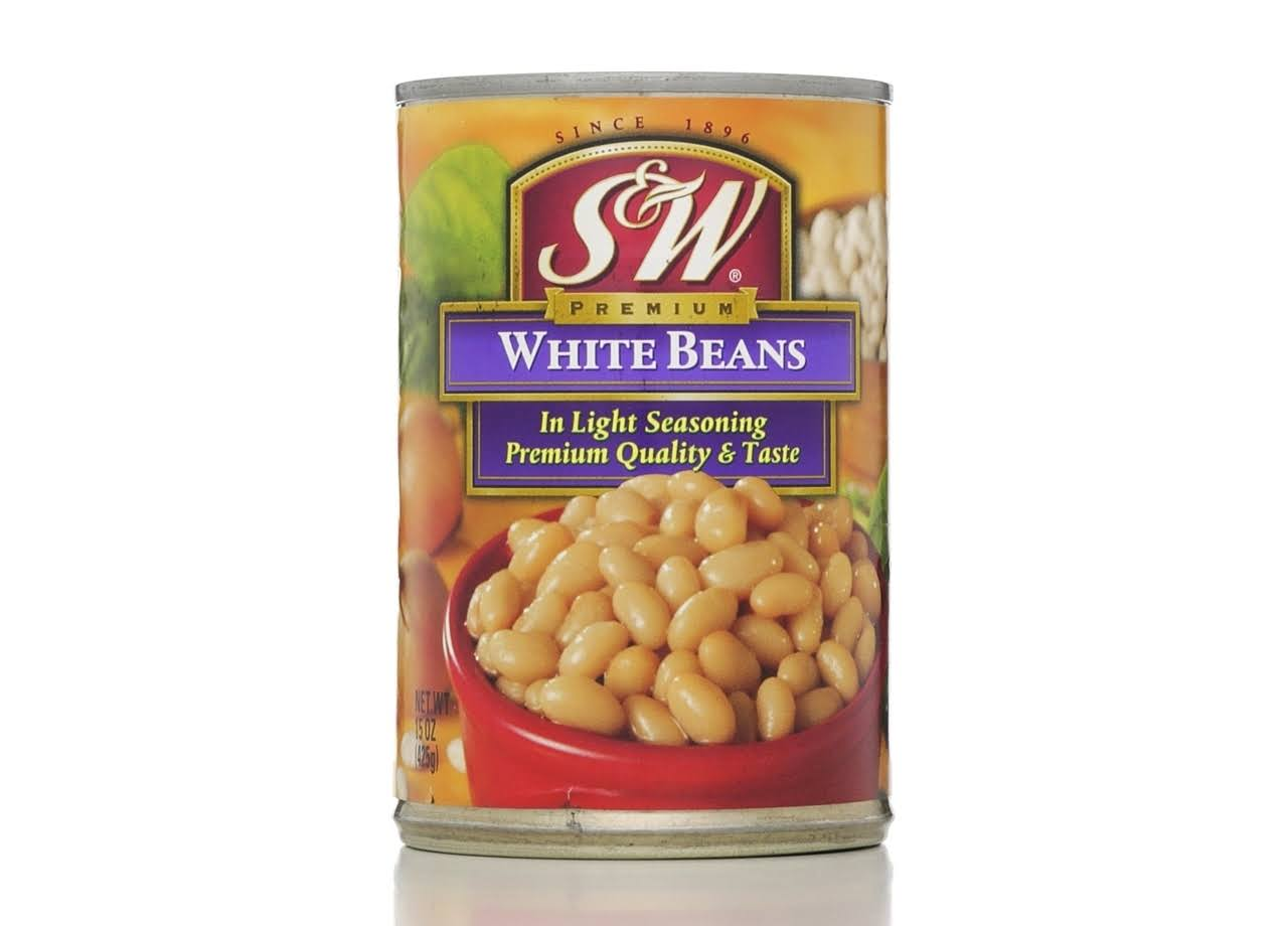 S&W Premium White Beans In Light Seasoning - 15oz