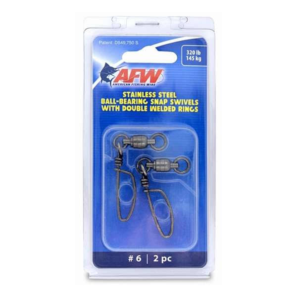 AFW Size #6 320lb SS Ball Bearing Snap Swivels, 2PC - FTV320B-A
