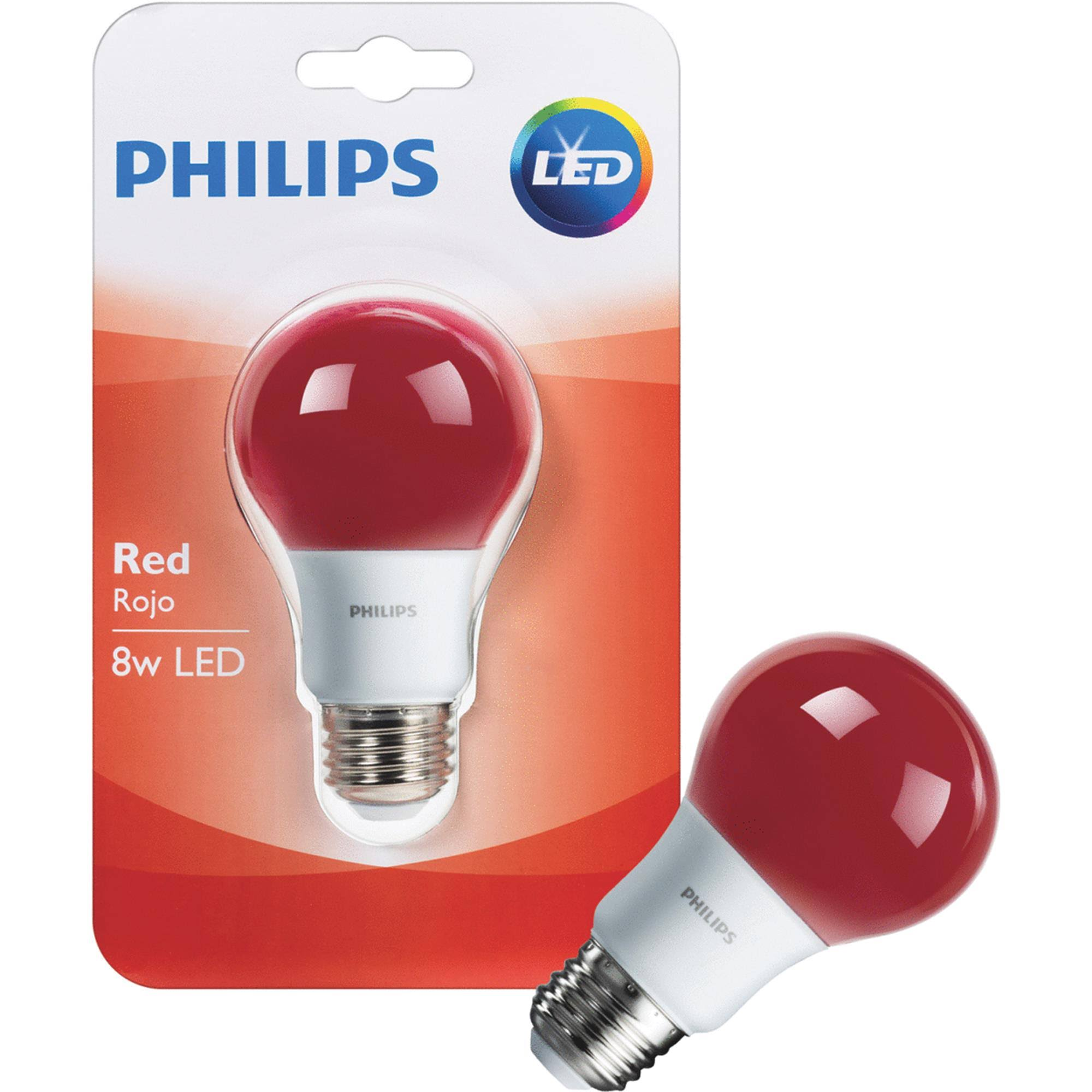 Philips Led Light Bulb - Red, A19, 8W