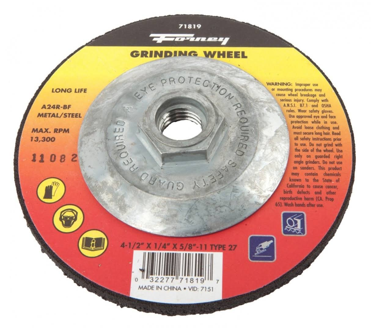 "Forney Industries Metal Grinding Wheel - 4 1/2"", Type 27"
