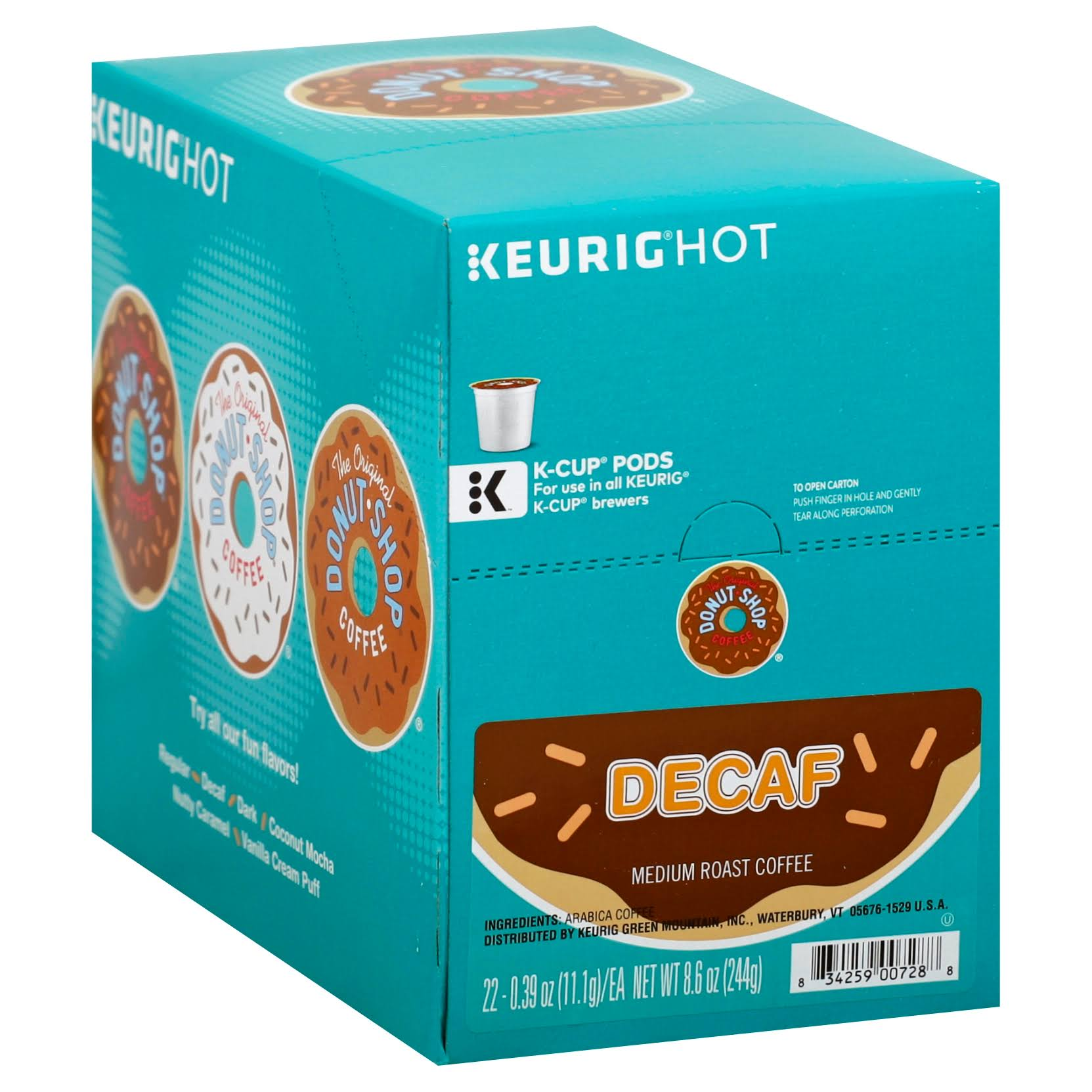 The Original Donut Shop Decaf Keurig K-Cup - Medium Roast Coffee, 22ct, Decaf