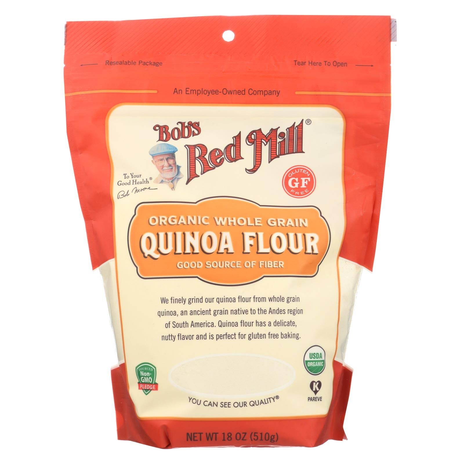 Bobs Red Mill Flour, Quinoa, Organic, Whole Grain - 18 oz