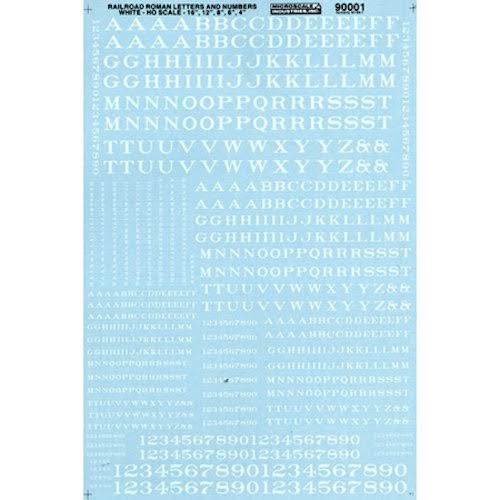 Microscale MSI90001 HO Letters & Numbers, Roman/White