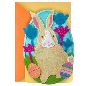 Felt Bunny and Flowers Egg-Shaped Musical Easter Card