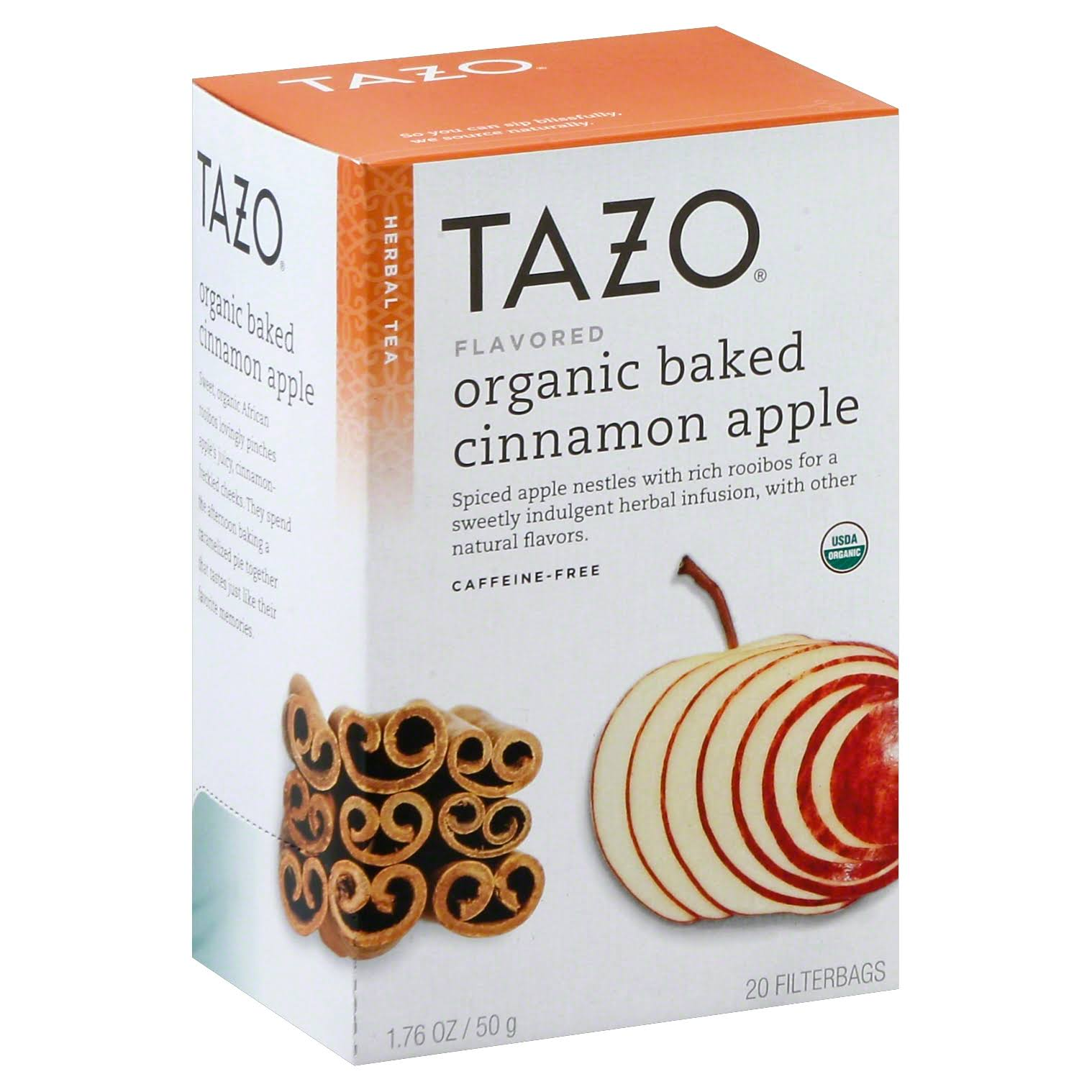 Tazo Flavored Herbal Tea Filterbags - Organic Baked Cinnamon Apple, 1.76oz, 20ct