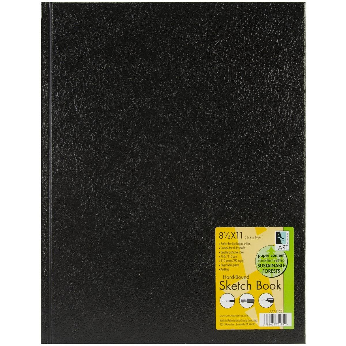 Art Alternatives Black Hardbound Sketch Book - 8.5x11''