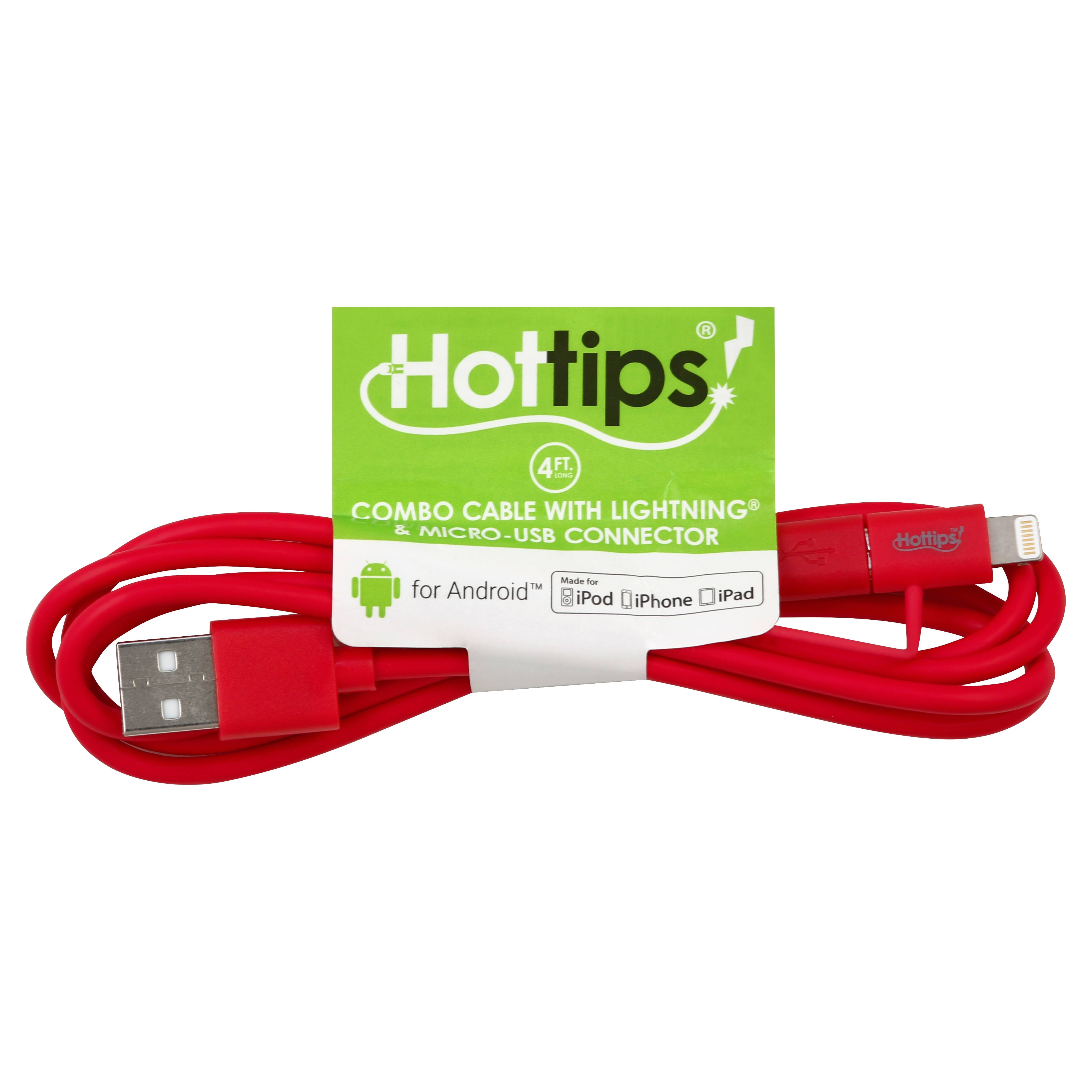 Hottips Combo Cable, with Lightning & Micro-USB Connector, 4 Foot