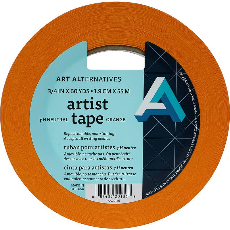 Art Alternatives Artist Tape, Orange, 3/4 inch