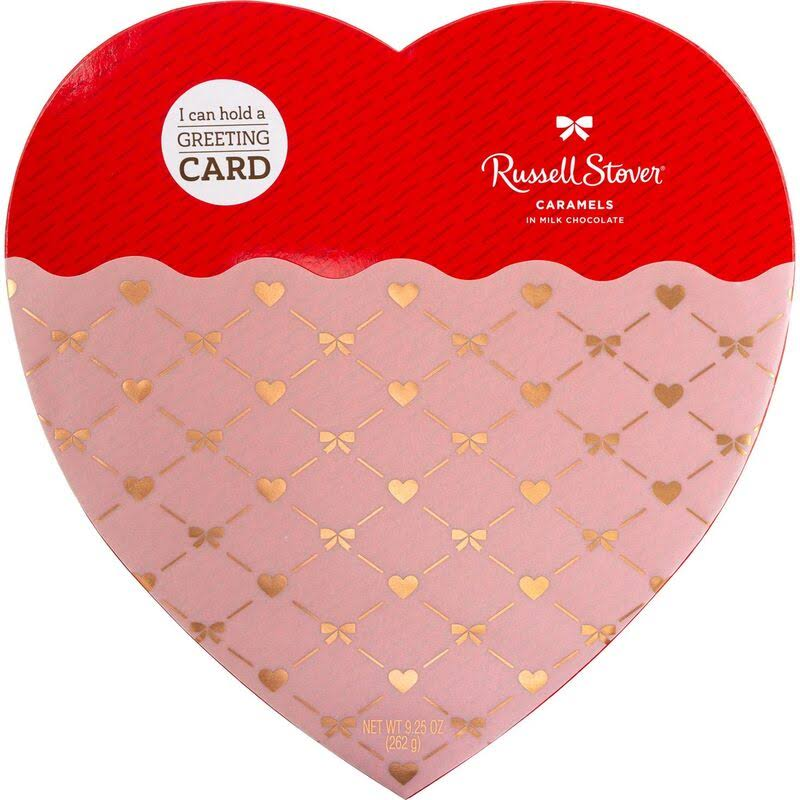 Russell Stover Milk Chocolate Caramels Heart Gift Box, 16 Pieces