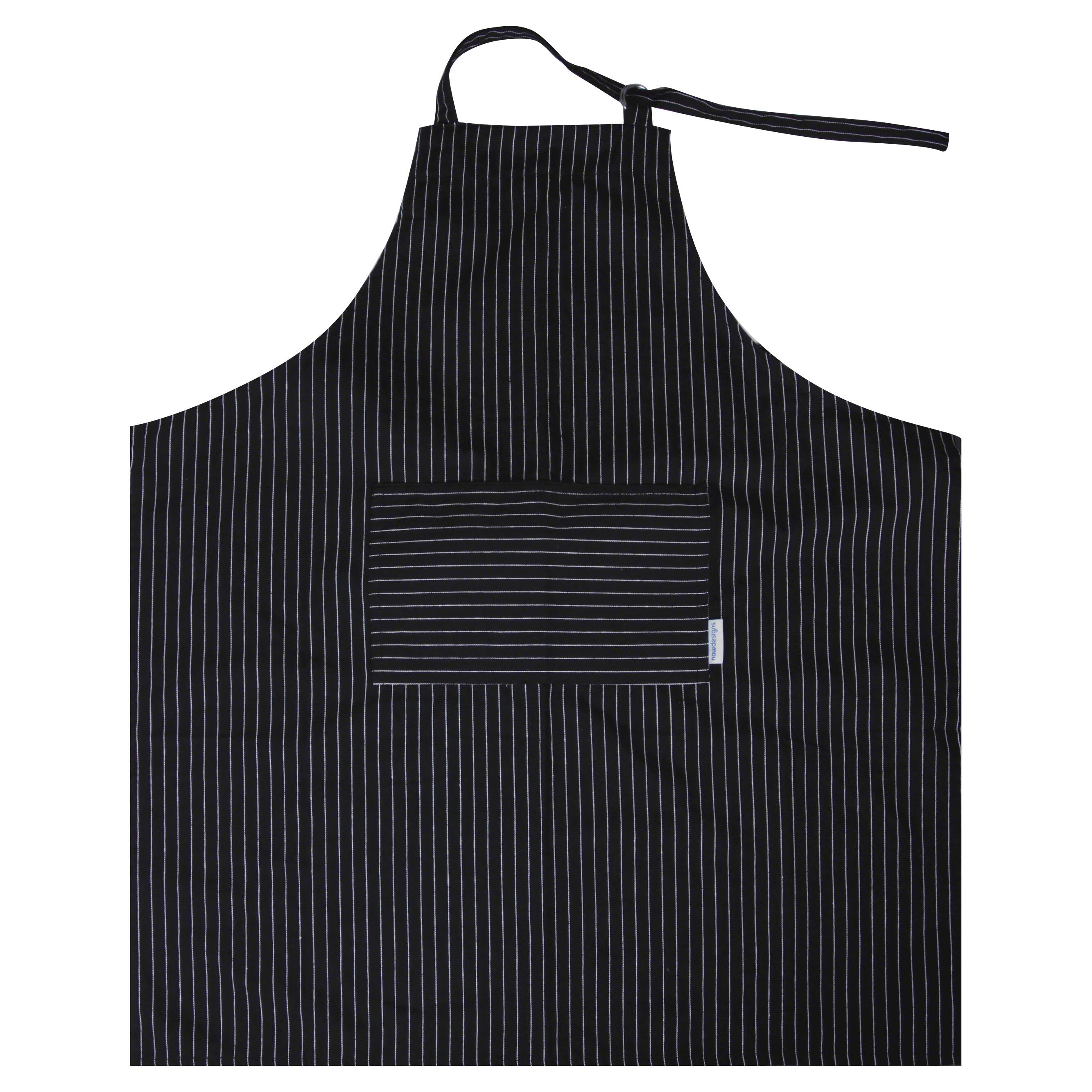 Now Designs Apron, Basic, Pinstripe Black