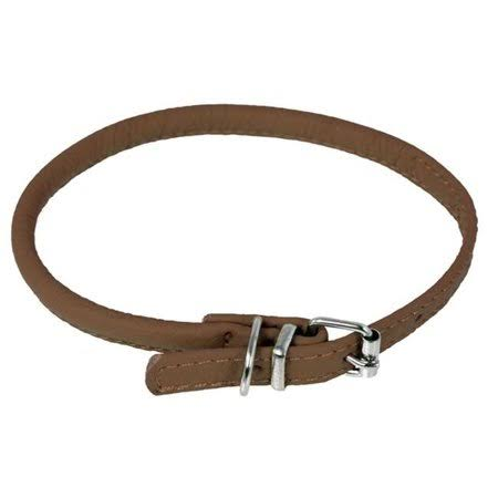 Dogline Soft Padded Leather Dog Collar - Brown
