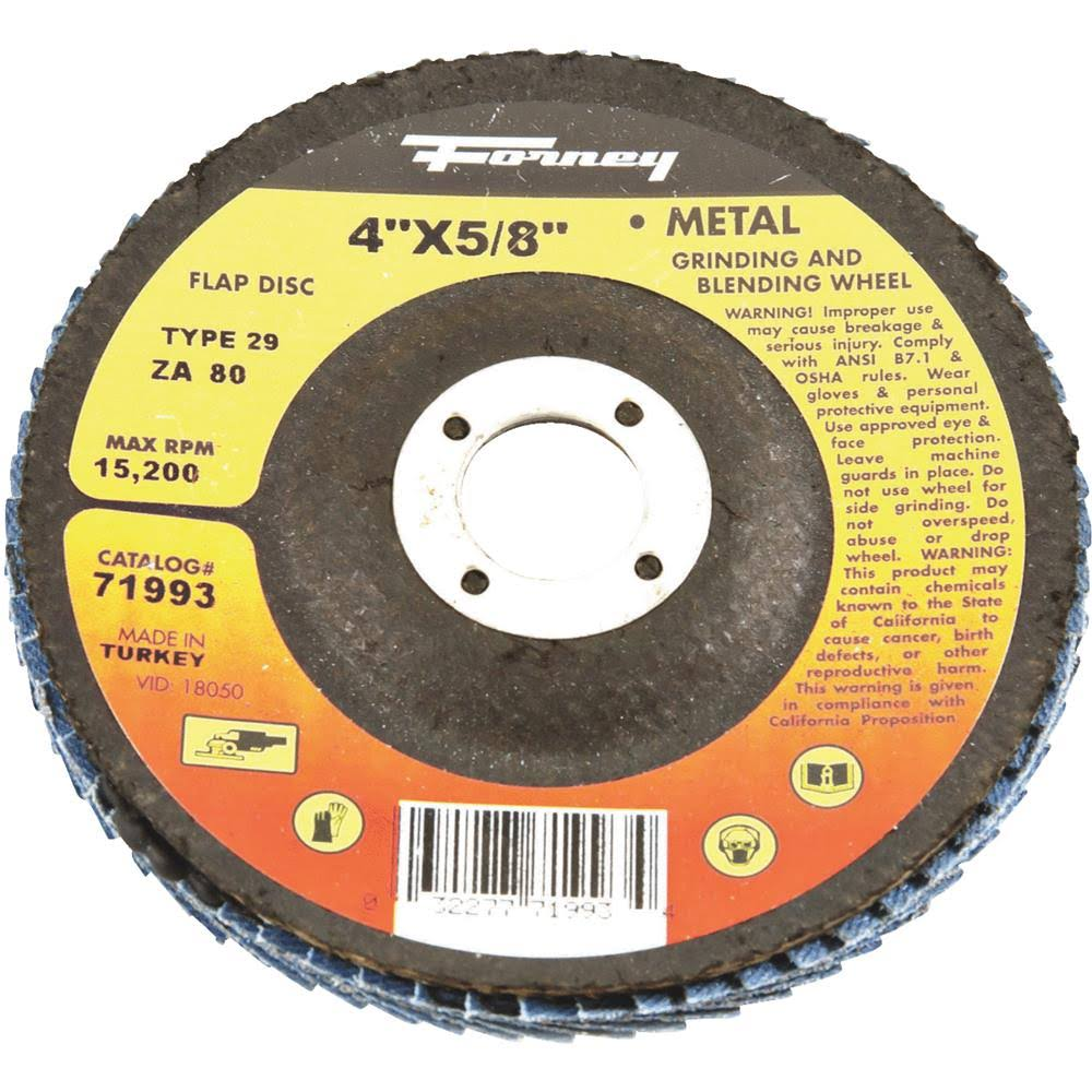 "Forney Type 29 Blue Zirconia Angle Grinder Flap Disc - with 5/8"" Arbor, 80 Grit, 4"""