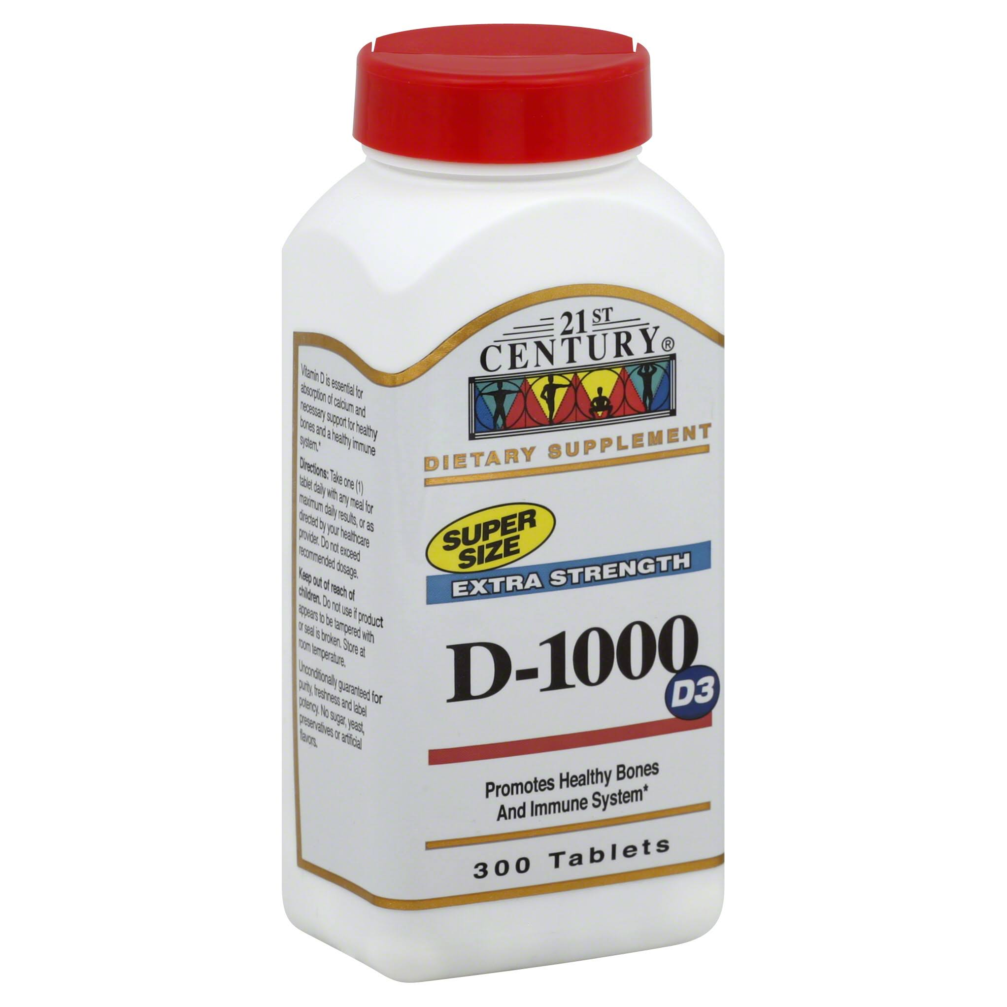 21st Century D-1000 IU Vitamin Supplement - 300 Tablets
