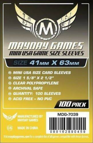 "Mayday Games Mini USA Card Sleeve - 1.62"" x 2.48"", 100 Count"