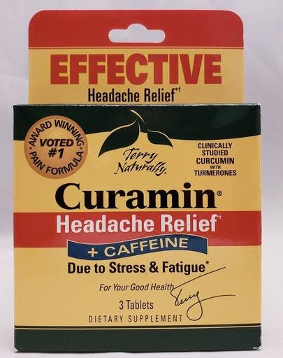 EuroPharma (Terry Naturally) Curamin Hedache Relief + Caffeine - 3 Softgel