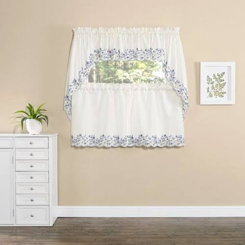 Renaissance Home Fashion Bloom Embroidered Tier Curtain, Natural
