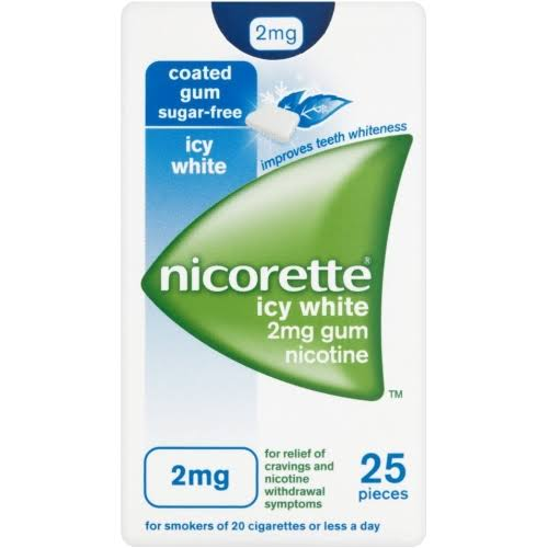 Nicorette Icy White 2mg Gum 25 Pieces