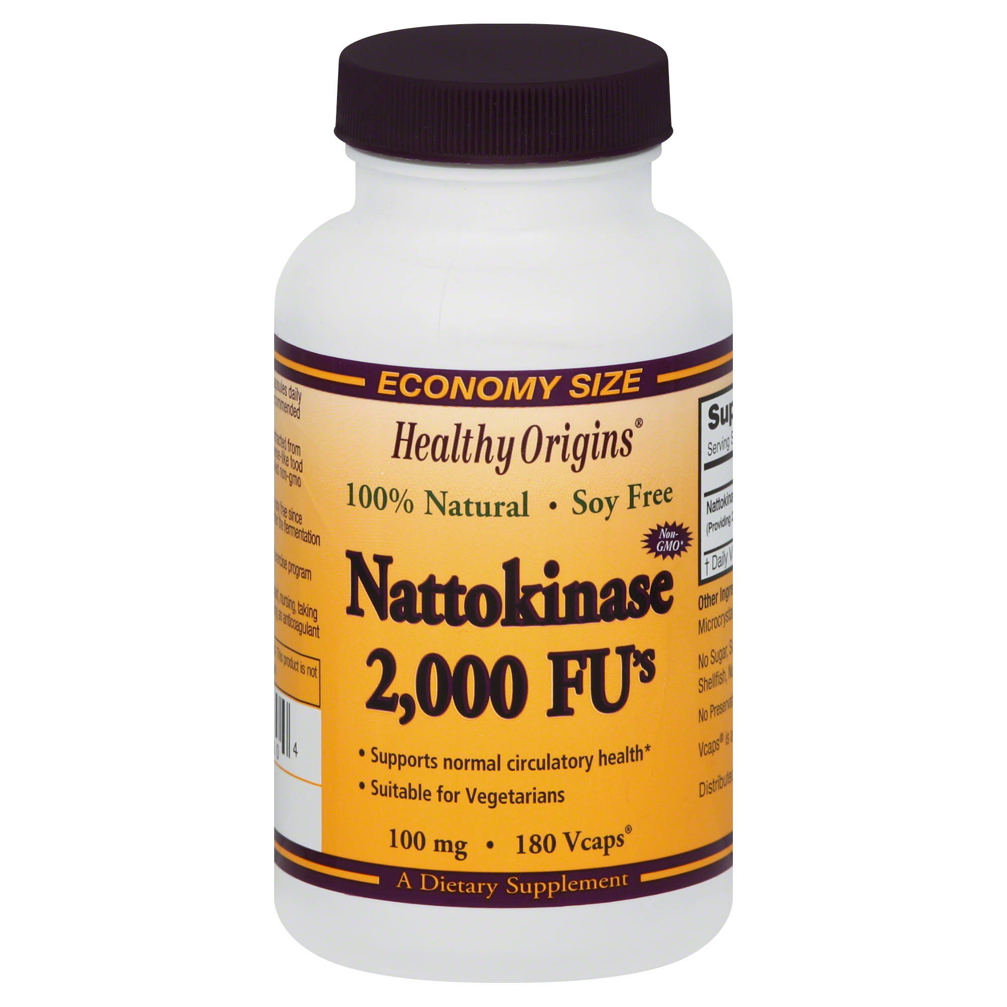 Healthy Origins Nattokinase 2000 FU's Supplement - 100mg, 180 Vcaps
