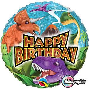 "Birthday Dinosaurs 18"" Holographic Foil Balloon"