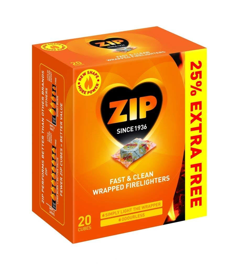Zip Fast and Clean Wrapped Firelighters - 20 Cubes