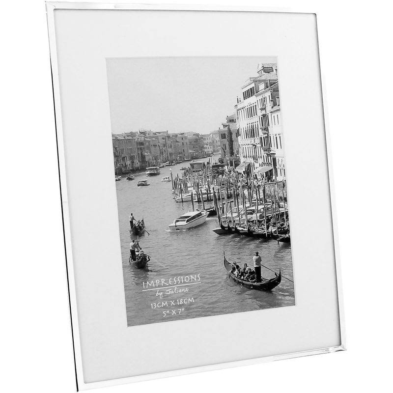 Impressions White Border 5 x 7 Silver-Plated Photo Frame