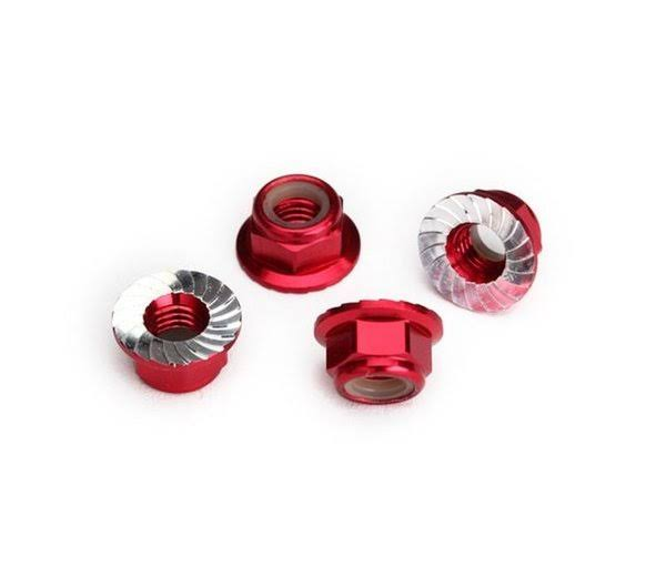 Traxxas 8447R Red Serrated Aluminum 5mm Flanged Nylon Locking Nuts