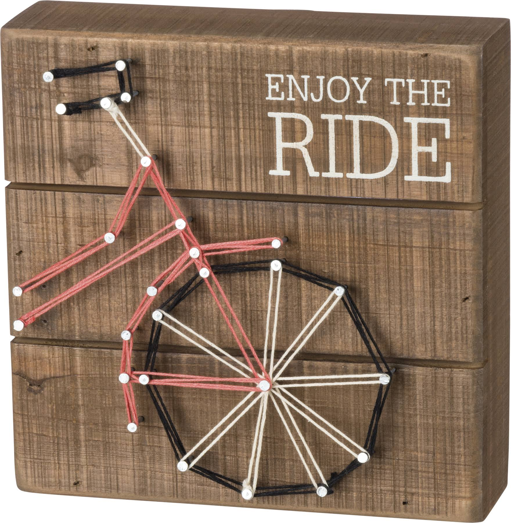 "Primitives by Kathy String Art Wood Box Sign Enjoy The Ride 6"" Square"