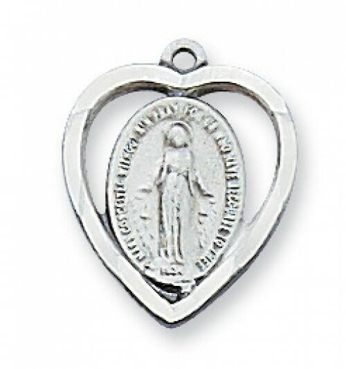 Sterling Silver Miraculous Medal Heart Pendant on 18 inch Chain