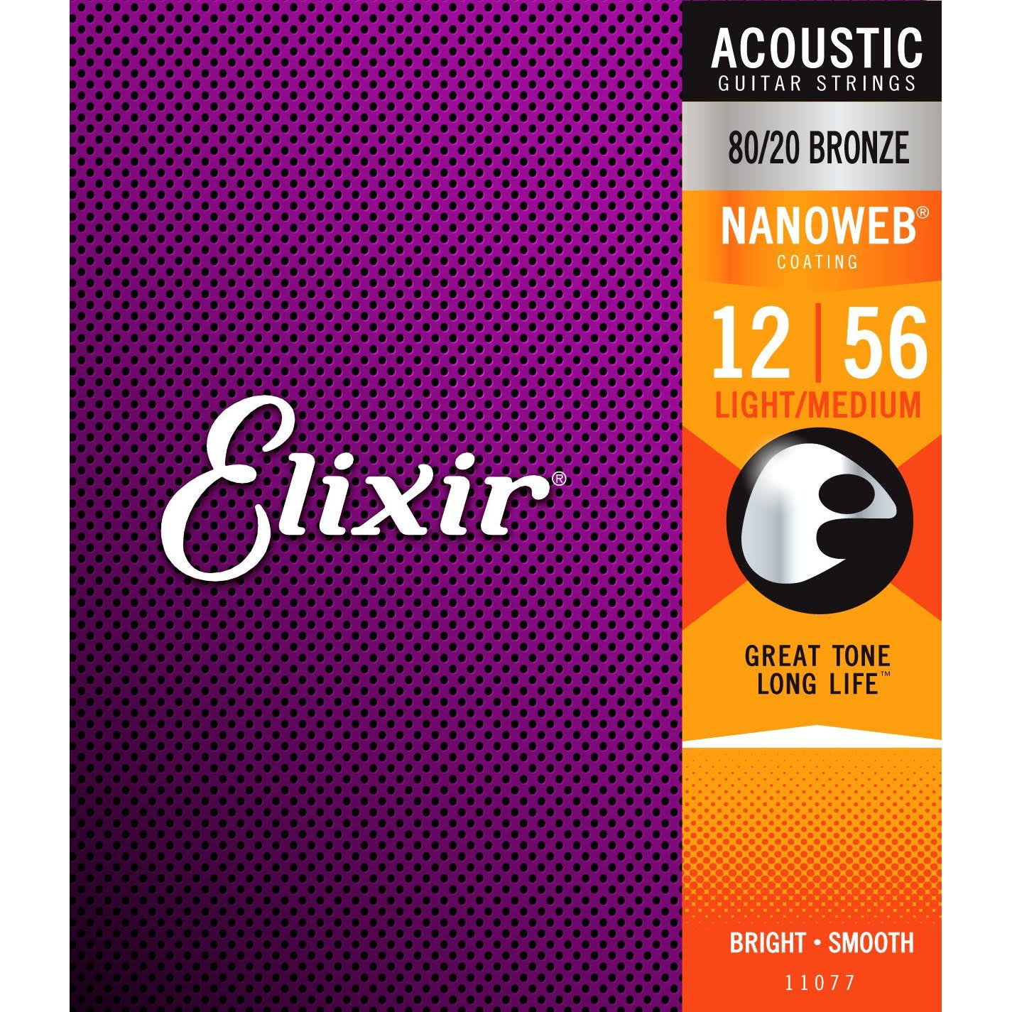 Elixir Nanoweb 80/20 Bronze Acoustic Guitar Strings Set - Light-Medium