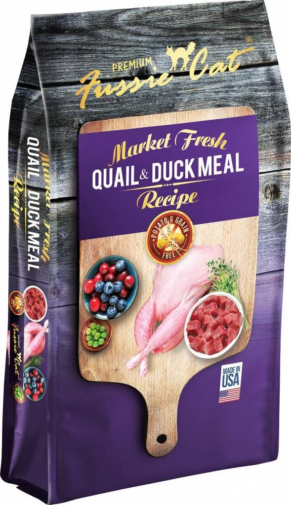Fussie Cat Market Fresh Grain Free Quail & Duck Meal Recipe Dry Cat Food - 10-lb