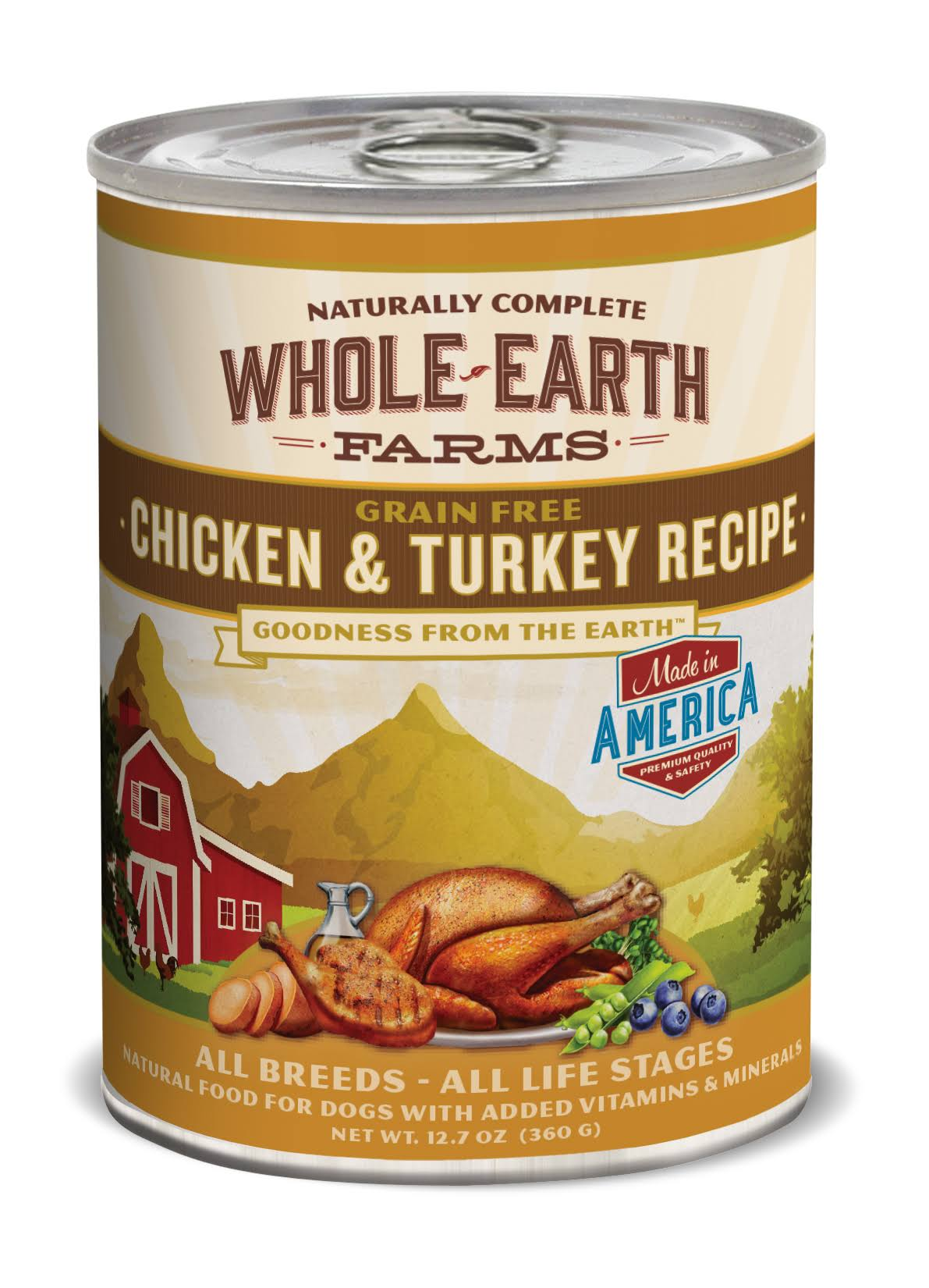 Whole Earth Farms Grain Chicken and Turkey Canned Dog Food - 12.7oz