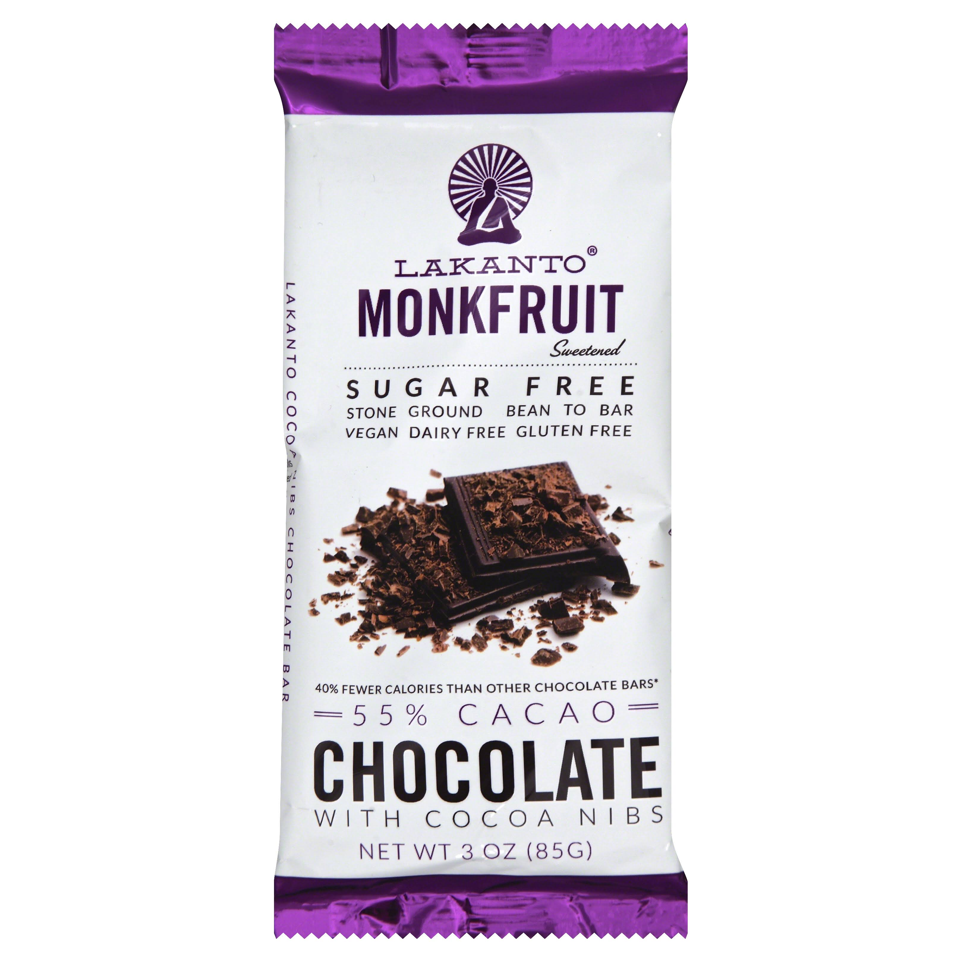 Lakanto Monkfruit Chocolate Bar - Cocoa Nibs, 85g