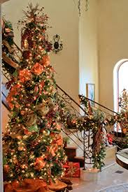 Raz Gold Christmas Trees by Christmas Tree And Stairway Garland Complete With Orange Moire