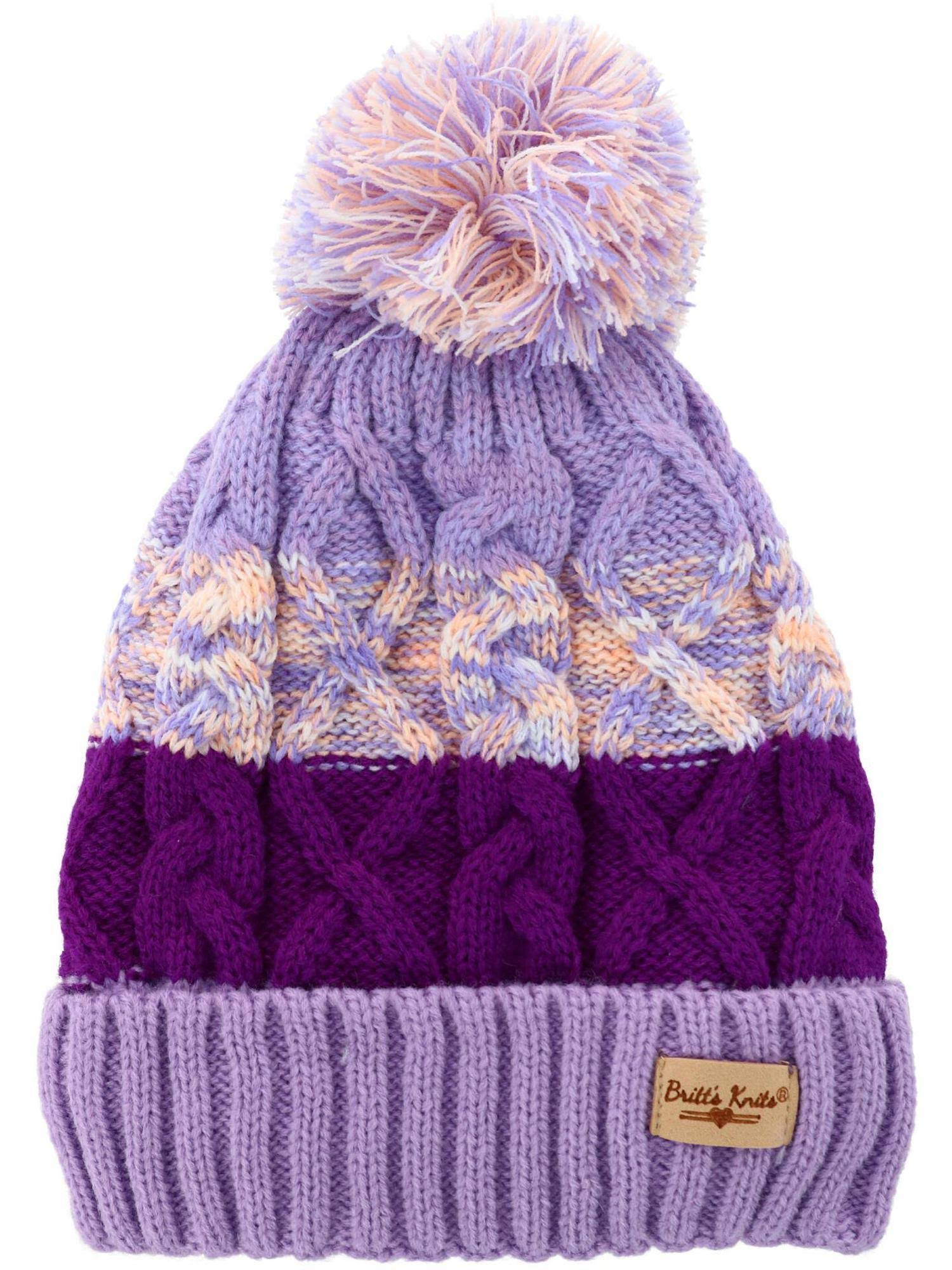 Britt's Knits Kids' Plush Lined Cable Knit Beanie Cuff Cap - Lavender