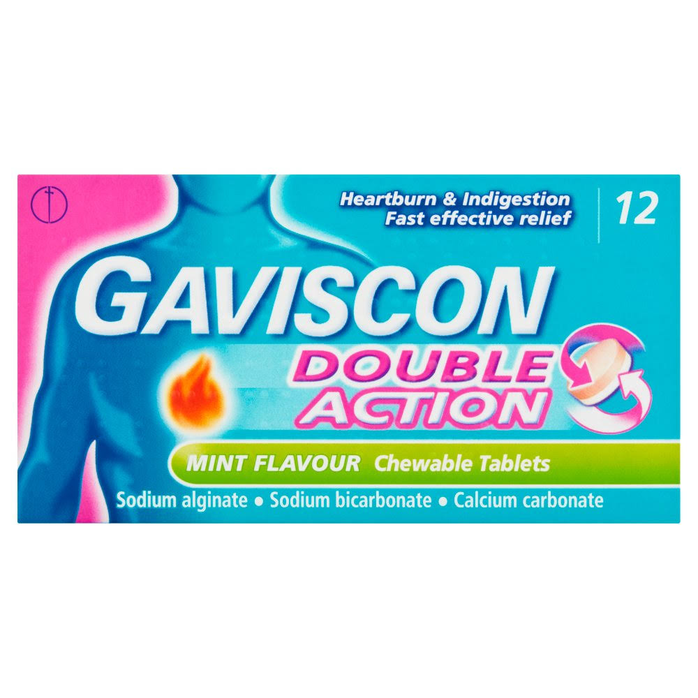 Gaviscon Double Action Mint Flavour Chewable Tablets - 12ct