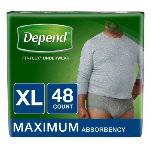 Depend Fit-Flex Incontinence Underwear for Men, Maximum Absorbency, XL, Gray 48 ct