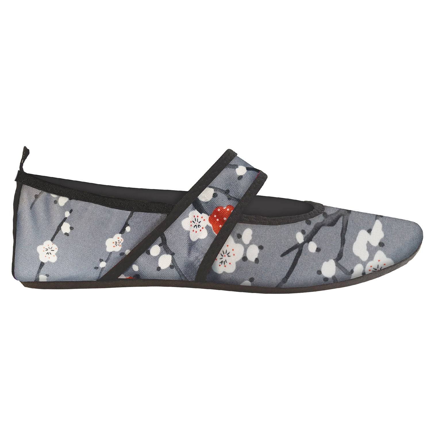 Women's Nufoot Indoor/Outdoor Futsole Neoprene Slippers - Cherry Blossom, Size: Medium, Gray
