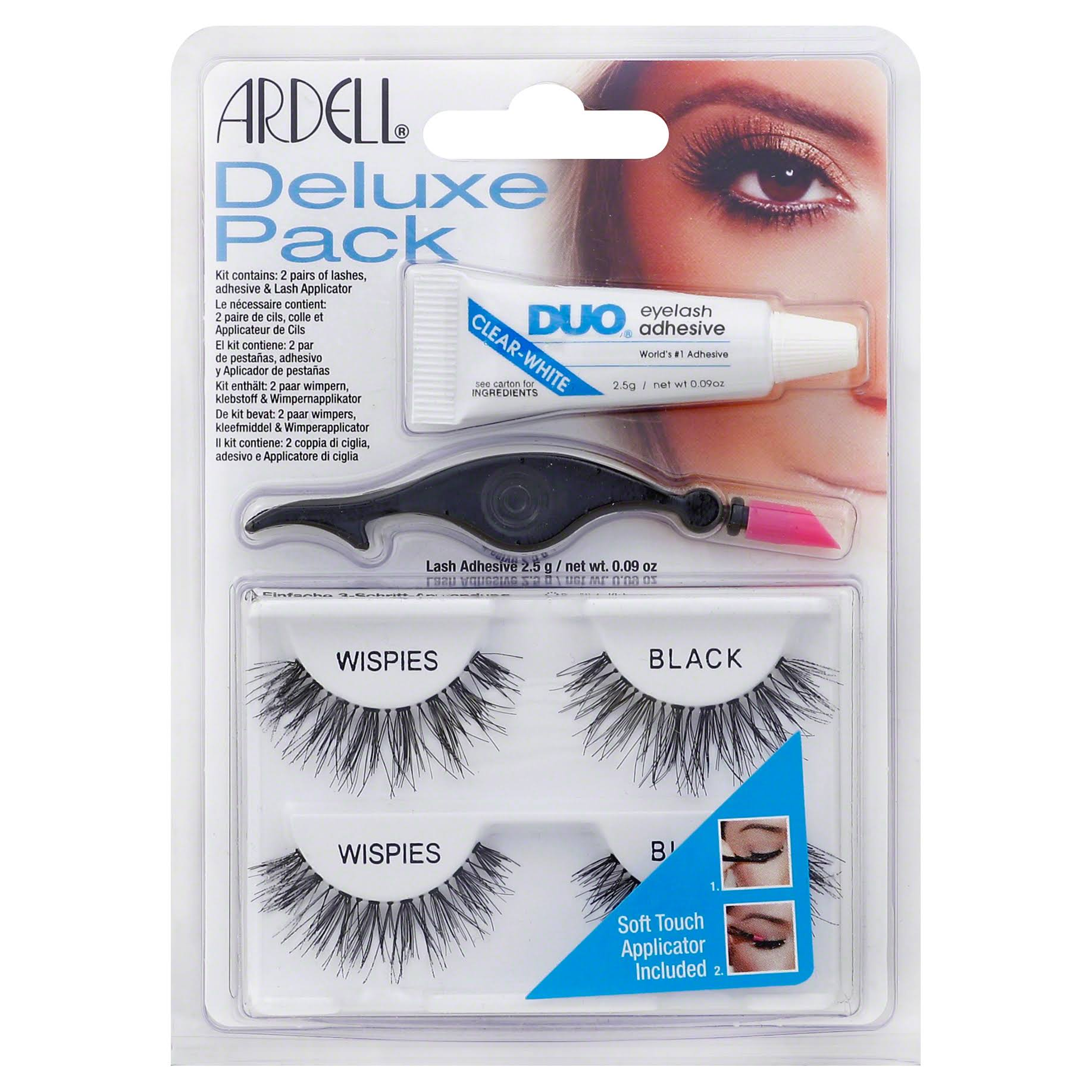 Ardell Deluxe Pack Wispies Black Lashes - Glue and Applicator