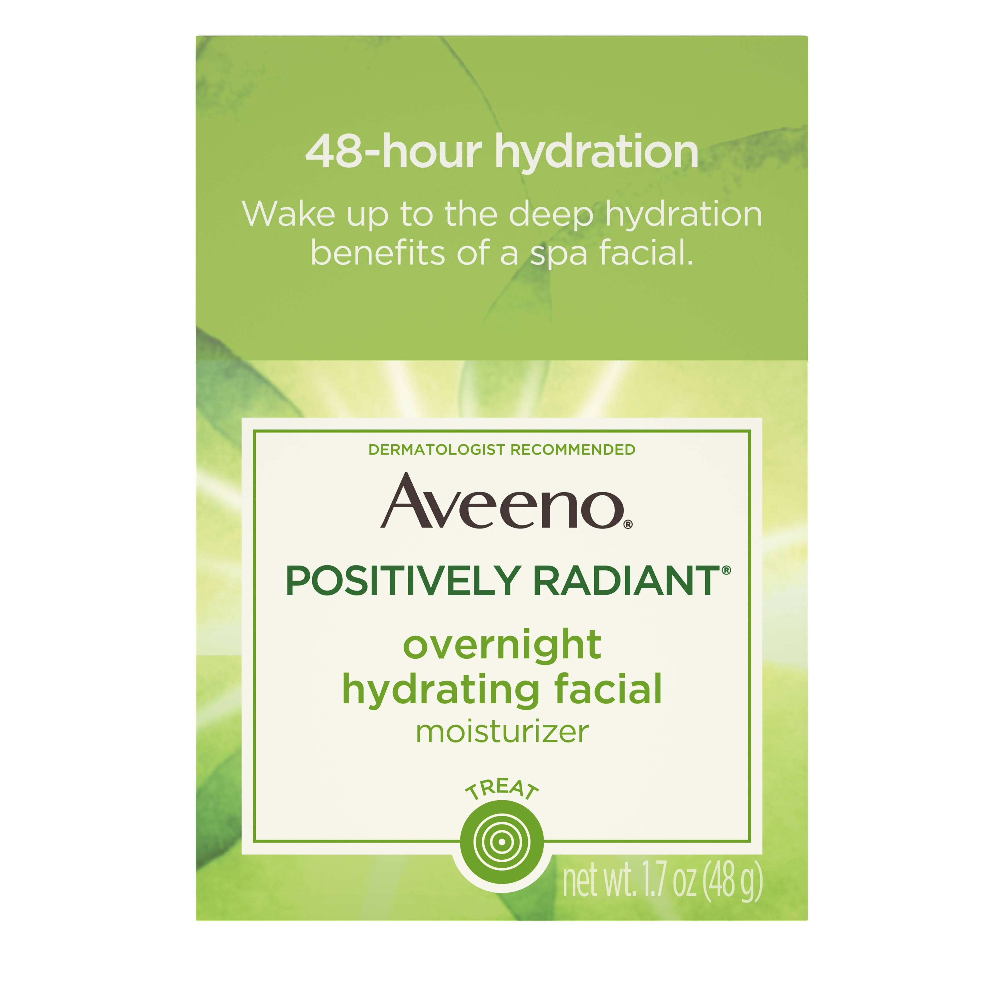 Aveeno Active Naturals Positively Radiant Moisturizer, Overnight Hydrating Facial - 1.7 oz