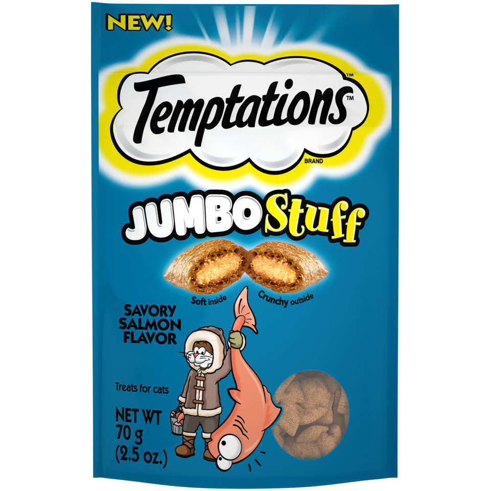Temptations Treat for Cats, Jumbo Stuff, Savory Salmon Flavor - 70 g