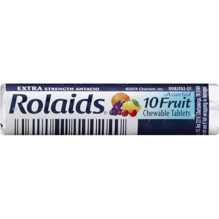 Rolaids Extra Strength Antacid Chewable Tablets - Fruit, 10 Count, 12 Pack