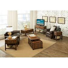 Value City Kitchen Table Sets by Riverside Latitudes Suitcase Chair Side Table Aged Cognac Wood