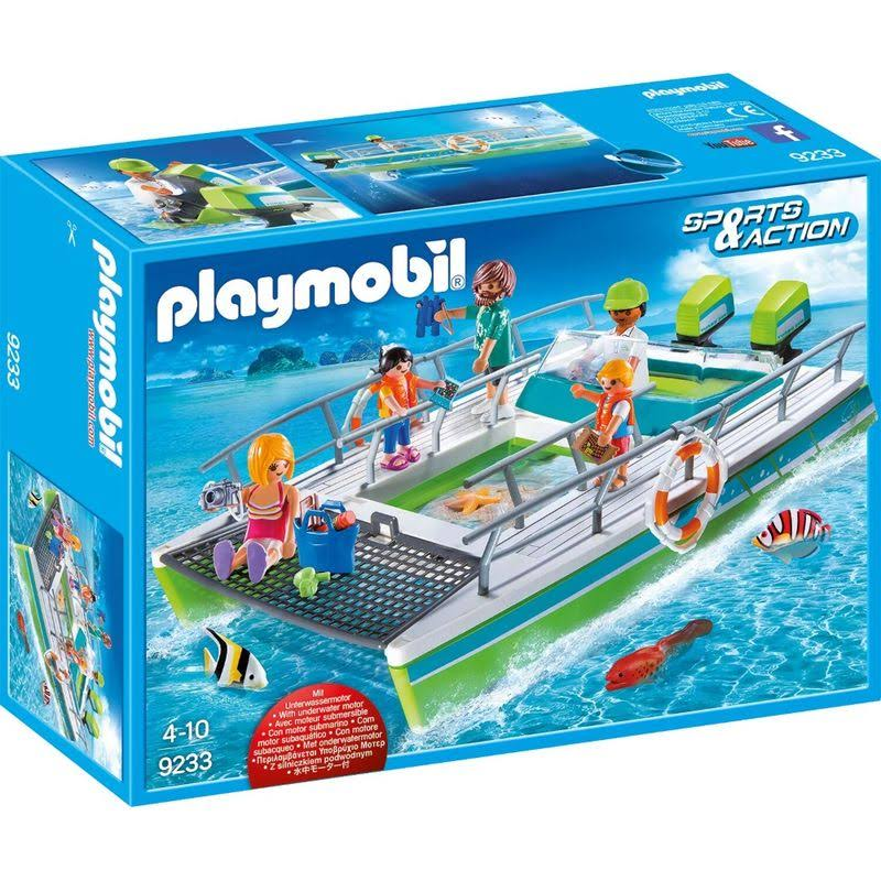 Playmobil 9233 Glass Bottom Diver Boat Playset - With Motor